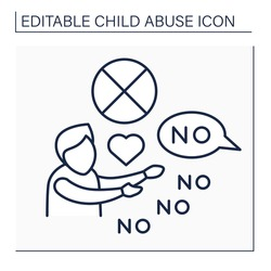 Limit physical contact line icon. Avoiding love shows, communication with child. Psychological abuse.Child abuse concept. Isolated vector illustration. Editable stroke