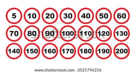 limit speed sign for car set
