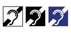 Limited hearing. Deafness symbol and audible sign. Hearing loss impairment logo. Flat vector ear pictogram signs. Universal access icon, hard of hearing icons. Assistive listening systems Symbols.