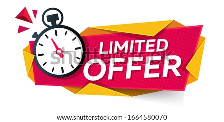 limited offer. modern banner design with stopwatch  Foto d'archivio ©