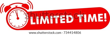 Limited time flat, red vector with alarm clock icon, promotion symbol Foto stock ©