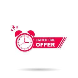 Limited time offer banner with alarm reminder, vector illustration template