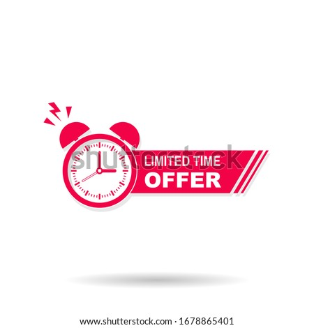 Limited time offer banner with alarm reminder, vector illustration template Foto d'archivio ©