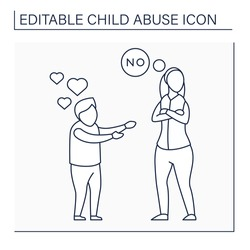 Limiting physical contact line icon. Avoid child love. Refusal to show love. No hugs, kisses. Ignoring. Child abuse concept. Isolated vector illustration. Editable stroke