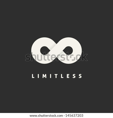 Limitless Abstract Vector Logo Template. Infinity Symbol Concept. Endless Sign. Eternity Icon with Soft Shadows. Premium Emblem for Any Brand. Eight Shape on Dark Background.