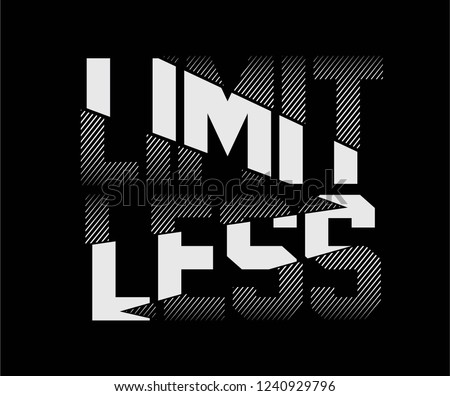 Limitless Camouflage Sliced Sport Slogan . Military Typography Slogan College With Army Badge, Pin, Patch Soldier T-shirt and apparels print graphic vector Varsity typography Urban Camo. #1240929796
