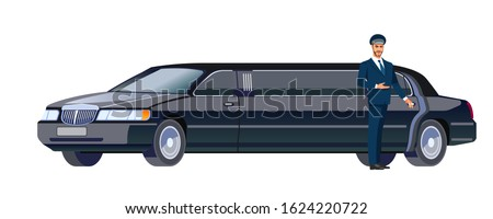 Limo driver standing next to opened car door. Cartoon, flat design vector illustration isolated on white background. Foto stock ©