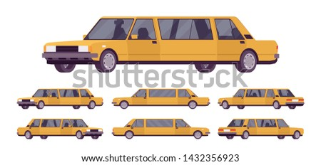 Limousine large, luxurious car set. Golden expensive limo, classic comfortable vehicle for transportation service. Vector flat style cartoon illustration isolated on white background, different views