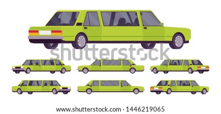 Limousine large, luxurious car set. Green expensive limo, classic comfortable vehicle for transportation service. Vector flat style cartoon illustration isolated on white background, different views