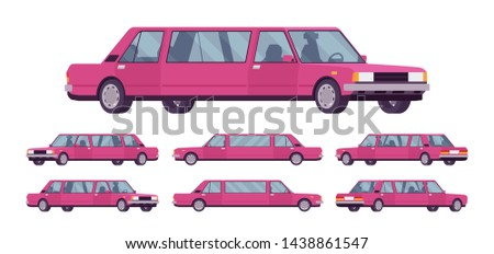 Limousine large, luxurious car set. Pink expensive limo, classic comfortable vehicle for transportation service. Vector flat style cartoon illustration isolated on white background, different views