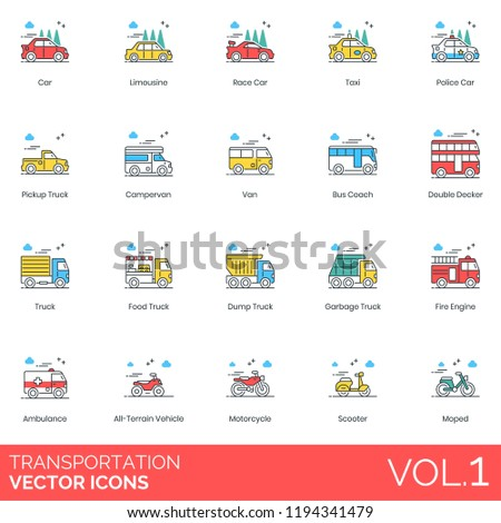Limousine, race car, taxi, pickup truck, campervan, bus coach, double decker, food, dump, garbage, fire engine, ambulance, all terrain vehicle, motorcycle, scooter, moped transportation vector icons.