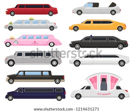 Limousine vector limo luxury car and retro auto transport and vehicle automobile illustration set of automotive citycar transportation isolated on white background illustration
