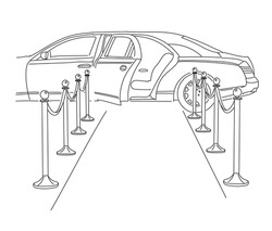 Limousine with an open door on the red carpet. The release of a movie or show business star. Vector linear illustration