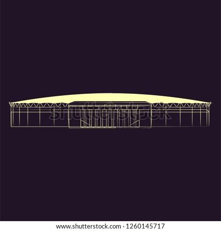 Linbe art Baku buildings.Baku elements sketch vector illustration. Flame,Maiden,Baku TV towers, Heydar Aliyev Center. - Vector