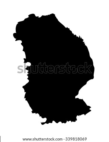 Lincolnshire vector silhouette map isolated on white background. Vector map of Lincolnshire in East Midlands, United Kingdom.