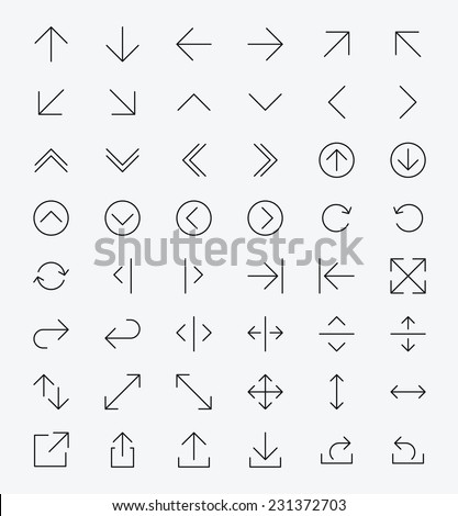 Line Arrow icon set | Vector