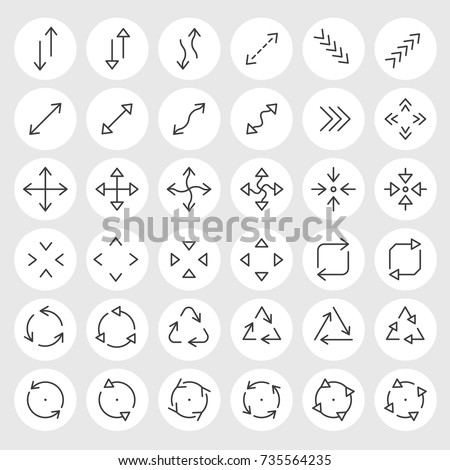 Line arrows and signs vector icons set. Different states, types and directions of the arrows, double arrow, curved, triangle, angled, circled, crossed and other navigation arrows