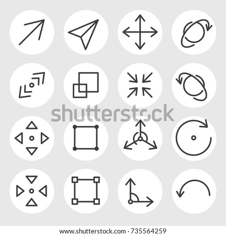 Line arrows and signs vector icons set. Different states, types and directions of the arrows, double arrow, curved, triangle, angled, outward, inward, angle, backward, rotate, scale, size and other