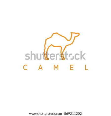 line art abstract camel vector design template