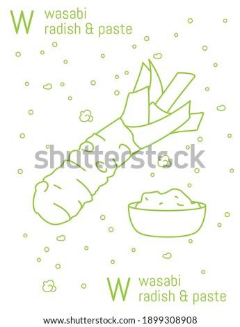 Line art alphabet image japanese horseraddish and paste wasabi letter W Stock fotó ©