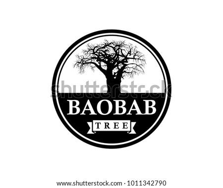 Line Art Baobab Tree Illustration Vintage Circle Logo Vector
