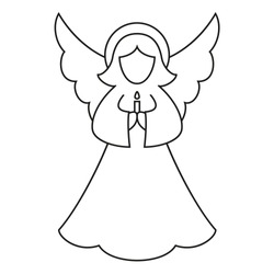 Line art black and white christmas angel. Coloring book page for adults and kids. Xmas themed vector illustration for icon, logo, stamp, label, badge, certificate, poster or gift card decoration