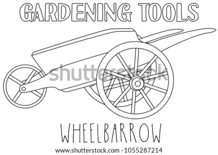 Line Art Black And White Wheelbarrow Coloring Book Page For Adults Kids Garden
