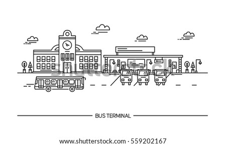 line art bus terminal  station