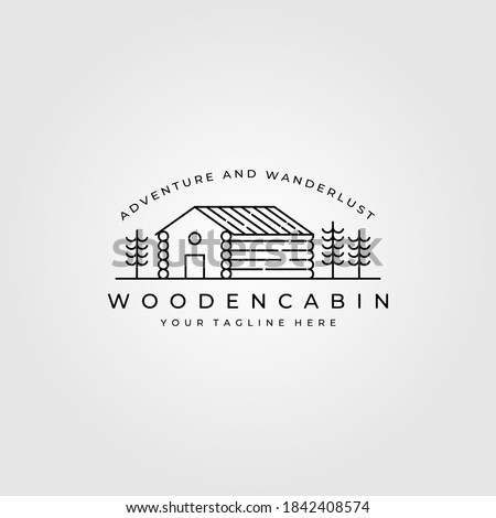 line art cabin logo vector illustration design, cottage minimalist logo design Foto stock ©