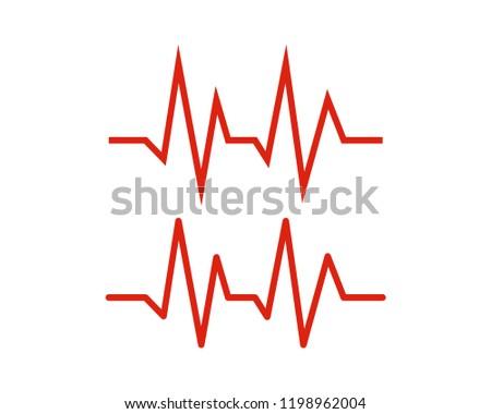 Line Art Care Heartbeat Sign Symbol Icon Logo vector