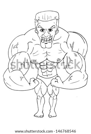 line art caricature of a