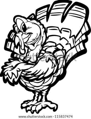 Line Art Cartoon Vector Image of a Thanksgiving Holiday Turkey with Crossed Arms