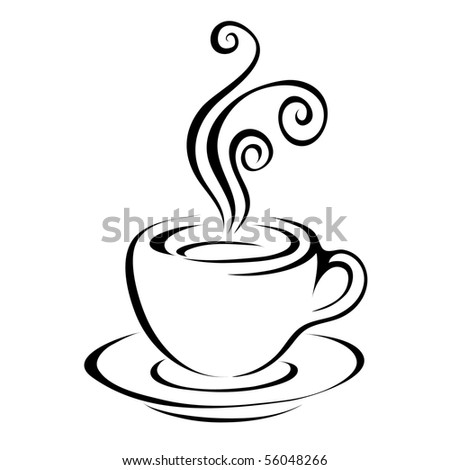 Line art coffee isolated on white