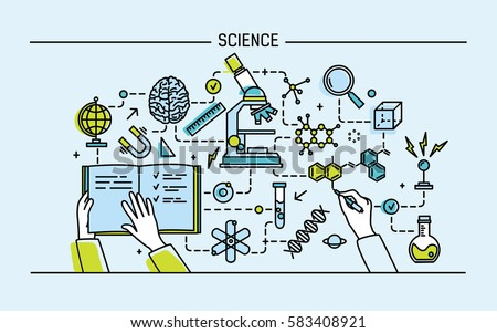 Line art colorful vector illustration. Science word and technology concept. flat design banner for website.