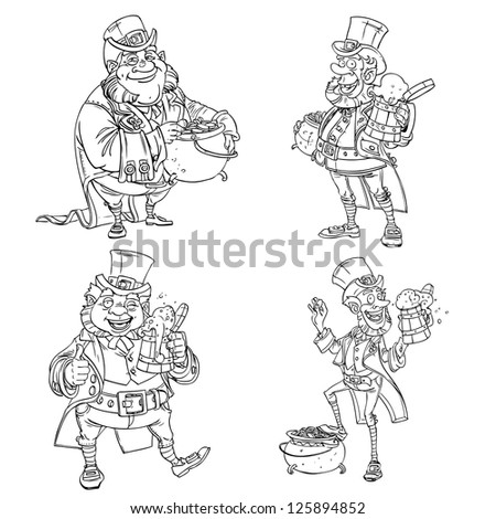 Line art coloring Leprechaun with beer and gold
