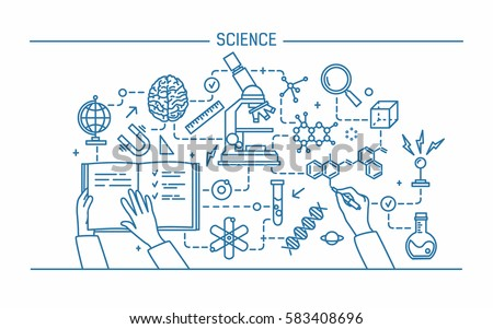 Line art contour vector illustration. Science word and technology concept. flat design banner for website.