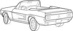 Line art design for coloring book for adults and children. Old car. Stroke