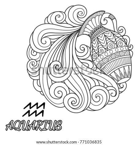 line art design of aquarius