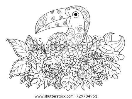 Line art design of  keel-billed toucan bird bird sitting on flowers for adult coloring book page.