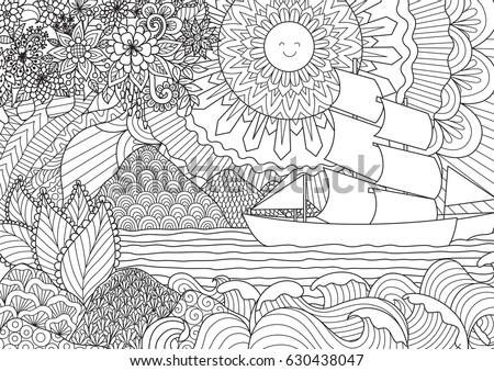 line art design of seascape for ...