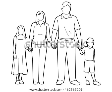 Line art drawing of a generic family holding hands.