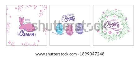 Line art Easter Postcards set. german Ostern card with eggs, bunny and wreath. one line drawing. Colorful spring poster or banner. Frohe Ostern. Stock foto ©