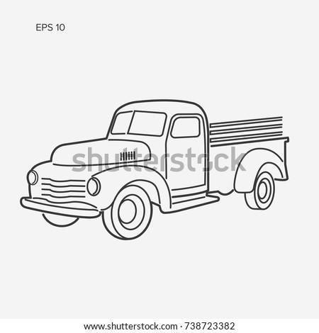 Line art farmer pickup truck vector illustration icon. Vintage transport vehicle