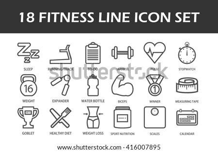 Line Art Fitness And Sport Icon Set