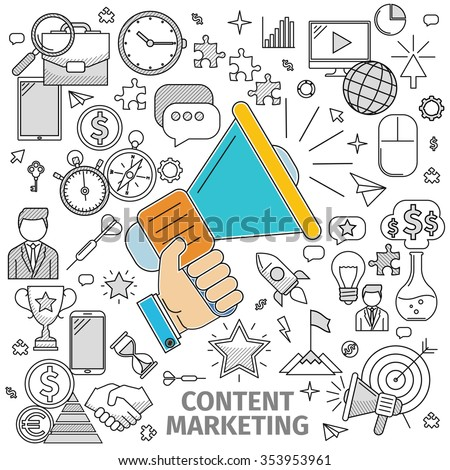 Line art flat concept of Content Marketing. Basis - this image loudspeaker in his hand and contour icon on the topic. Vector illustration of flat in a line art style