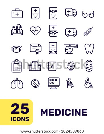 Line art flat style design of liner icon for medical web, site, banner, medicine theme presentation. Vector creative thin line medical icon set on white background with title