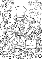 Line art for coloring. Halloween illustration