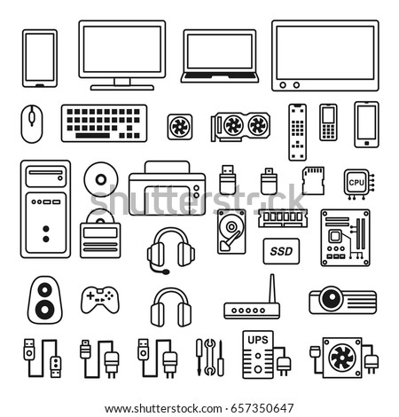 Line art for isolated various computer and high-tech gadgets icons. This picture is only line, it is unfillable but the line is recolorable.