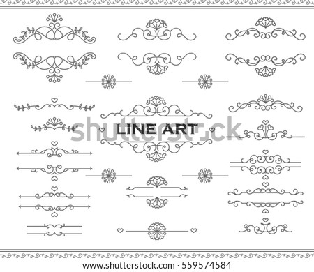 Line art frames and scroll elements. Floral linear border design elements. Flourishes Calligraphic ornaments. Vector elements for wedding or Valentine`s day cards, invitation, flayer etc.