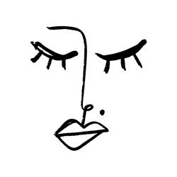 Line art glamour woman face portrait. Print for clothes, textile and other